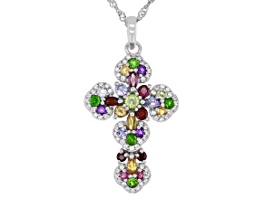 Mixed Shapes Multi-Stones Rhodium Over Sterling Silver Cross Pendant With Chain 1.84ctw