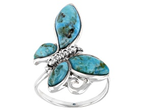 Blue Fancy Shape Cabochon Turquoise Rhodium Over Sterling Silver Butterfly Ring 0.17ctw
