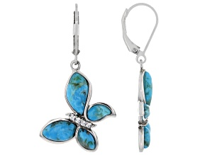 Blue Turquoise Rhodium Over Sterling Silver Earrings 0.16ctw