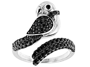 Black Spinel Rhodium Over Sterling Silver Parrot Ring 0.80ctw