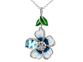 Sky Blue Topaz With White Zircon Rhodium Over Sterling Silver Flower Pendant With Chain 1.31tw