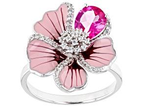 Pink Topaz Rhodium Over Sterling Silver Flower Enamel Ring 1.57ctw
