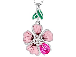 Pink Topaz Rhodium Over Sterling Silver Flower Pendant With Chain 1.57ctw