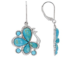 Blue Turquoise Rhodium Over Sterling Silver Peacock Earrings