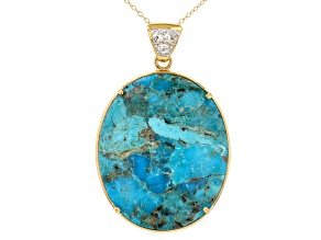 Blue Turquoise And Abalone Shell 18k Yellow Gold Over Silver Pendant With Chain 0.35ctw