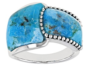 Blue Turquoise Rhodium Over Sterling Silver Ring.