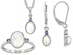 Rainbow Moonstone With Tanzanite Rhodium Over Silver Jewelry Set .17ctw