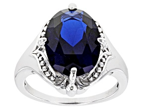 Blue Lab Created Spinel Rhodium Over Sterling Silver Solitaire Ring 6.00ct