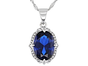 Blue Lab Created Spinel Rhodium Over Sterling Silver Pendant With Chain 6.00ct