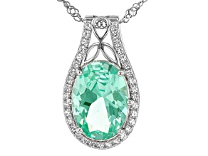 Green Lab Created Spinel With Lab White Sapphire Rhodium Over Silver Pendant With Chain 5.40ctw