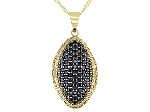 Round Black Spinel 18k Yellow Gold Over Sterling Silver Pendant With chain 1.56ctw