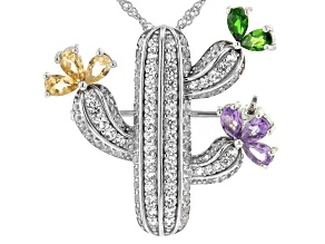 Multi-Gemstone Rhodium Over Silver Brooch Pendant With Chain 3.46ctw
