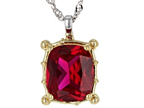 Red Lab Ruby Two Tone Sterling Silver Solitaire Pendant With Chain 6ct