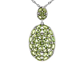 Green Peridot Rhodium Over Sterling Silver Pendant With Chain 3.81ctw