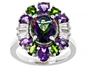 Green Mystic Fire(R)Topaz Rhodium Over Sterling Silver Ring 5.02ctw