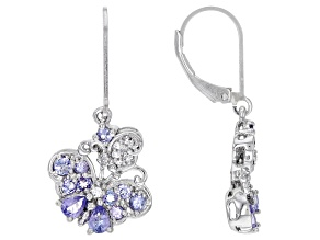 Blue Tanzanite Rhodium Over Sterling Silver Butterfly Earrings 1.40ctw