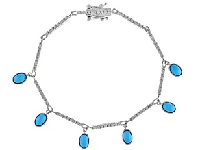 Blue Turquoise Rhodium Over Sterling Silver Charm Bracelet 2.07ctw