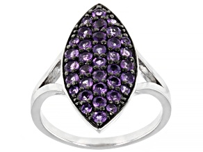 Purple Amethyst Rhodium Over Sterling Silver Ring .86ctw