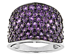 Purple Amethyst Rhodium Over Sterling Silver Ring 3.11ctw