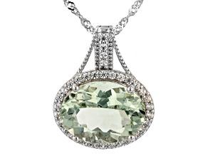Green Prasiolite Rhodium Over Sterling Silver Enhancer With Chain 7.91ctw