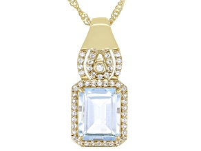 Sky Blue Topaz 18k Yellow Gold Over Sterling Silver Pendant With Chain 3.69ctw