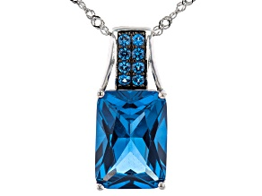Blue Lab Created Spinel Rhodium Over Sterling Silver Pendant With Chain 6.84ctw