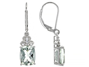 Green Prasiolite Rhodium Over Sterling Silver Dangle Earrings 5.02ctw