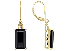 Black Spinel 18k Yellow Gold Over Sterling Silver Dangle Earrings 14.02ctw