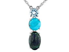 Blue Azurmalachite Rhodium Over Sterling Silver Necklace 0.94ctw