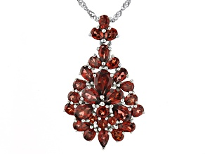 Red Garnet Rhodium Over Sterling Silver Pendant With Chain 6.65ctw