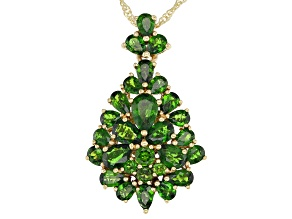 Green Russian Chrome Diopside 18k Yellow Gold Over Sterling Silver Pendant With Chain 5.07ctw