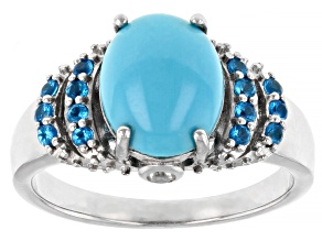 Blue Sleeping Beauty Turquoise Rhodium Over Sterling Silver Ring .29ctw