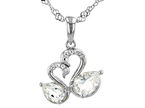 White Topaz Rhodium Over Sterling Silver Swan Pendant With Chain 1.18ctw