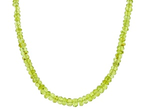 Green Peridot Rhodium Over Sterling Silver Beaded Necklace