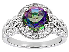 Mystic Green Topaz With White Topaz Rhodium Over Sterling Silver Ring 2.30ctw