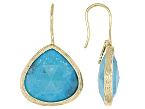 Blue Turquoise 18K Yellow Gold Over Silver Drop Earrings