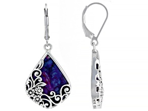 Purple Turquoise Sterling Silver Earrings.