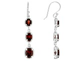 Red Garnet Rhodium Over Sterling Silver Dangle Earrings 3.32ctw.