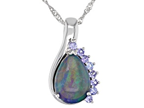 Multi-color Australian Opal Triplet Rhodium Over Silver Pendant With Chain .42ctw