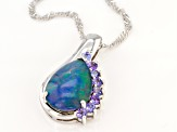 Multi Color Opal Triplet Silver Pendant With Chain .42ctw.