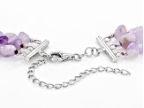 Lavender Amethyst Sterling Silver 3-Row Necklace