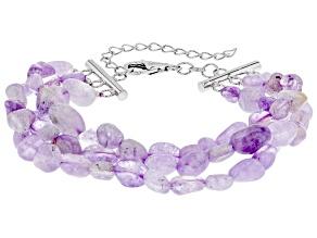 Lavender Amethyst Sterling Silver 3-Row bracelet
