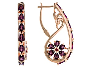 Raspberry Color Rhodolite 18k Rose Gold Over Sterling Silver Earrings 4.39ctw