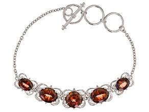 Red labradorite rhodium over sterling silver toggle bracelet 10.88ctw