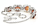 Red labradorite rhodium over sterling silver toggle bracelet 10.88ctw