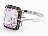 Pink Kunzite Rhodium Over Sterling Silver Ring 2.37ctw