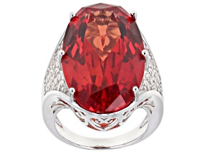 Orange Lab Created Padparadscha Sapphire Rhodium Over Silver Ring 26.06ctw