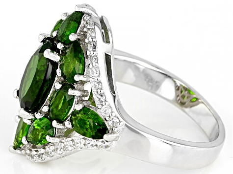 Green Chrome Diopside Rhodium Over Silver Ring 4.04ctw