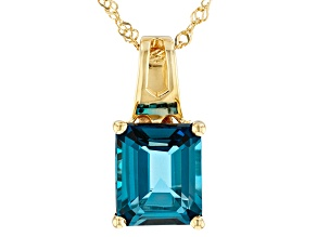 London blue topaz 18k yellow over silver pendant with chain 6.37ct