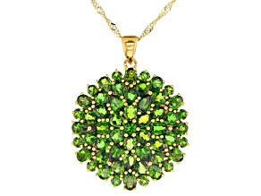 Green chrome diopside 18k yellow gold over silver pendant with chain 7.15ctw
